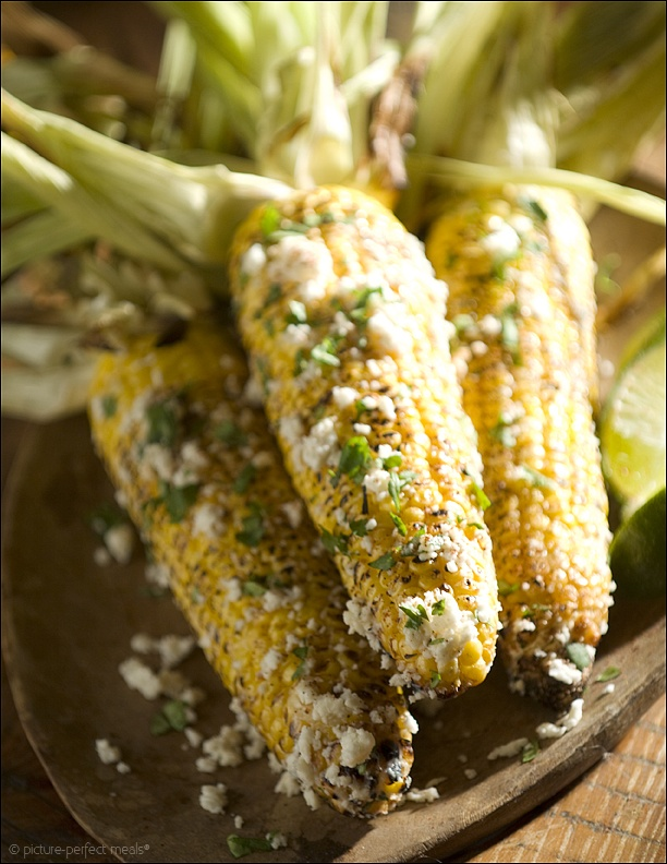 Grilled Corn on the Cob w/ Cotija Cheese and Lime Butter