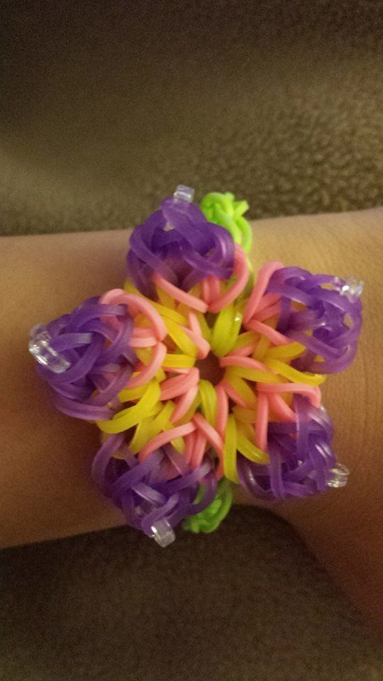 rainbow loom bracelet hibiscus flower purple pink yellow