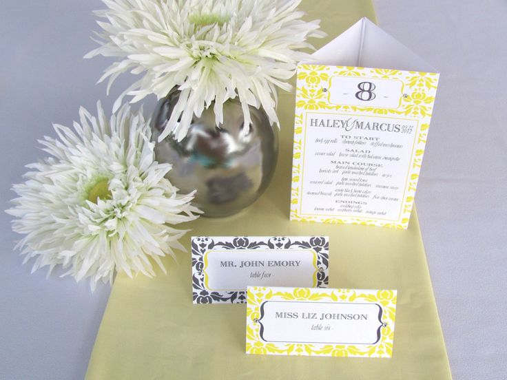 My own... Yellow and graphite gray wedding reception menu / table number in damask pattern with escort card options.