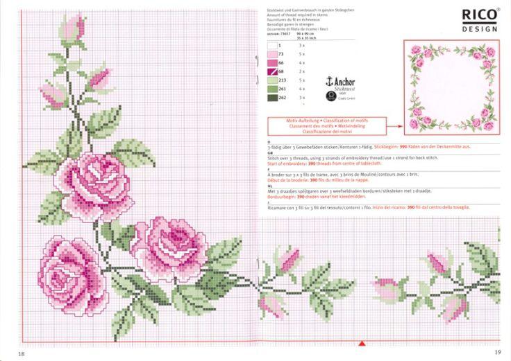 Вышивка для скатерти цветы 666