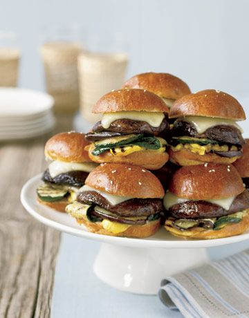 "A Vegetarian Super Bowl Recipe- Mini Portobello Burgers. ""You might want to make extra — they look so good that meat lovers might snag one, too!"""
