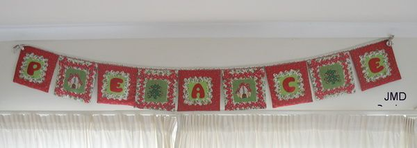 Christmas Banner   with Applique Cottage, Tree and Peace Wording