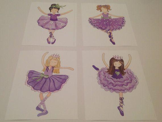 Ballerina Rubby nursery wall art decor purple violet bedding baby girl