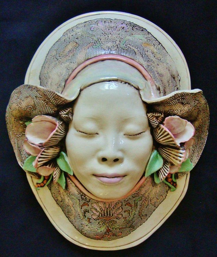 Barber Face Mask : by Jillian Barber in 1980. The full mask measures 16