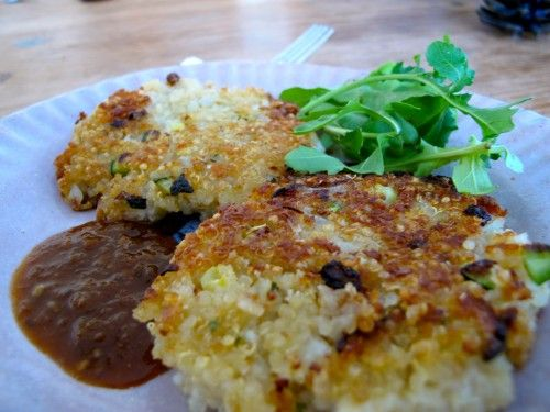 Quinoa cakes with zucchini & parmesan cheese