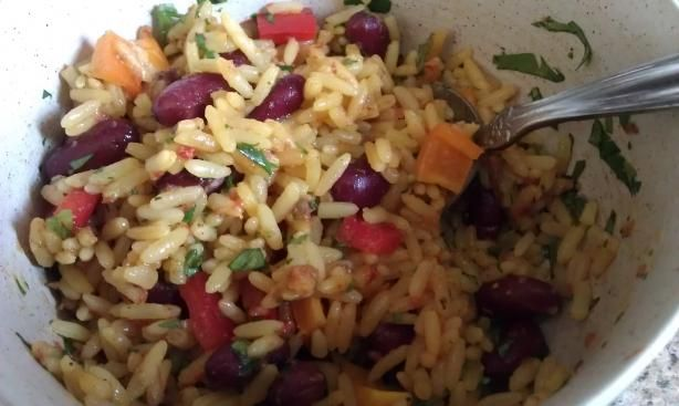 Mexican Yellow Rice and Black Beans. Photo by threeovens