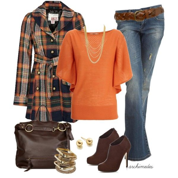 """""""BKE Plaid Coat"""" by archimedes16 on Polyvore"""
