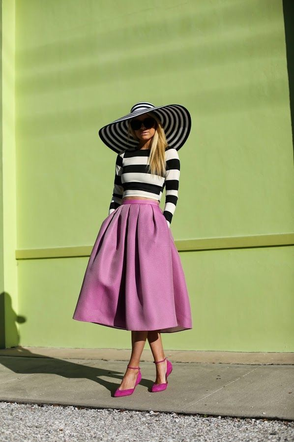 Mono striped hat + cropped top with Lilac skirt + shoes = romantic laylike spring summer #fashion look | Atlantic-Pacific