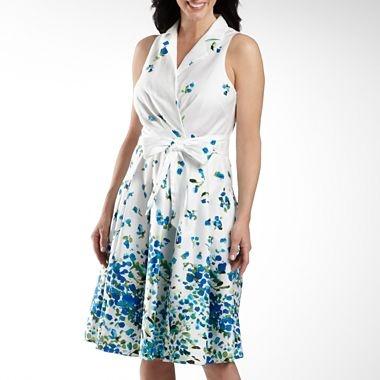 Jones Wear® Floral Print Wrap Shirt Dress - jcpenney