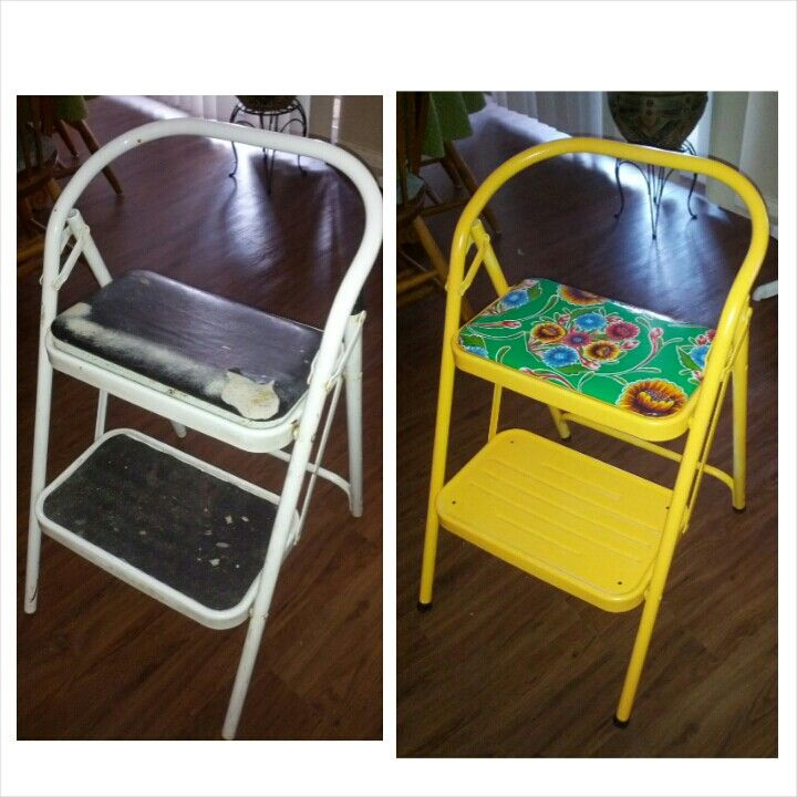 step stool makeover recovered padded seat with oilcloth and used