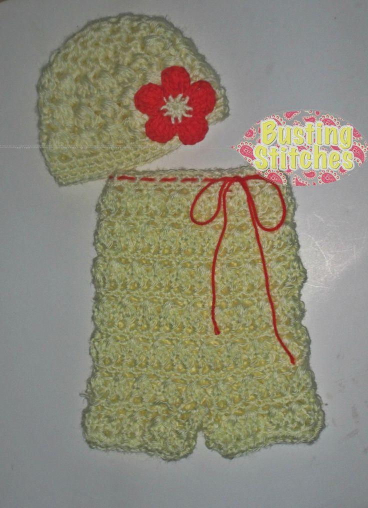 Free Crochet Pattern Baby Reindeer Hat : Busting Stitches: Candy Puffs Newborn Romper FREE Crochet ...