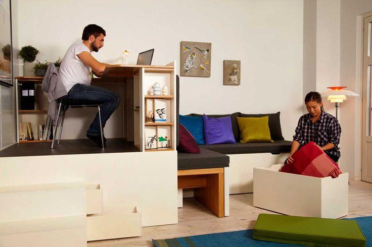 Super space saving bedroom furniture set - Table petit espace ...