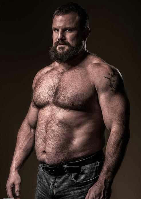 Hairy beefy bodybuilder men