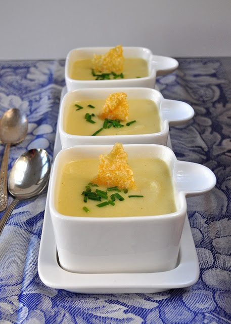 Silky cauliflower soup with parmesan crisps