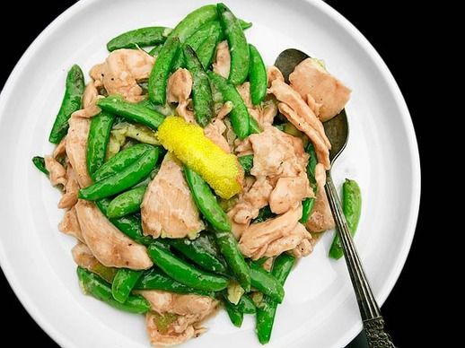 Stir-Fried Velvet Chicken with Snap Peas and Lemon-Ginger Sauce | Rec ...