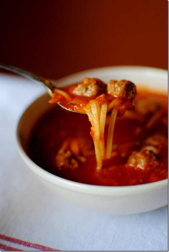 Spaghetti & Meatball Soup - Oooh I'll have to vegetarianise this to ...