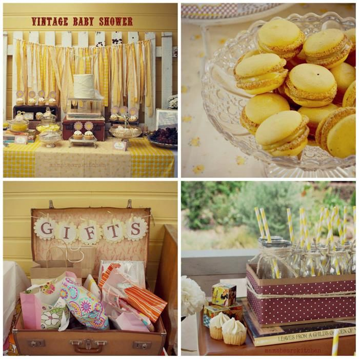 Yellow vintage baby shower with so many darling ideas via for Baby shower decoration stores