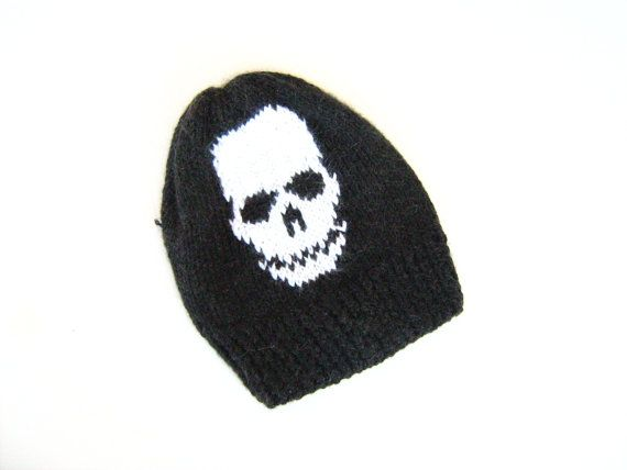 Knit hat, unisex ,moher yarn, skull pattern, black, white, christmas