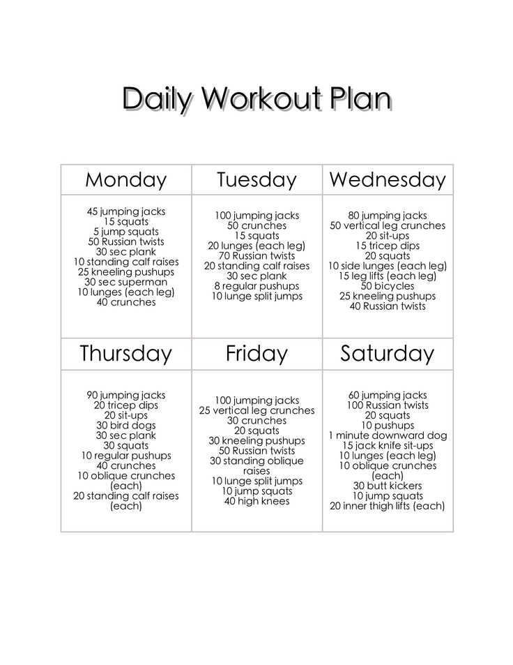 Daily Workout Plan Workouts Daily 28 Images Daily Workout Schedule On S Weight Lifting Fit