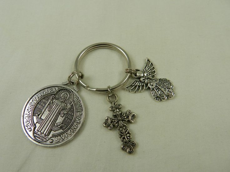 Religious Catholic Key Chain St Benedict Silver Medal Angel Crosses