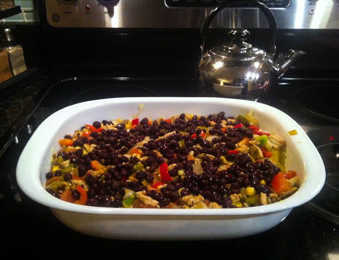 healthy mexican spaghetti squash bake. recipe here: http://wp.me ...