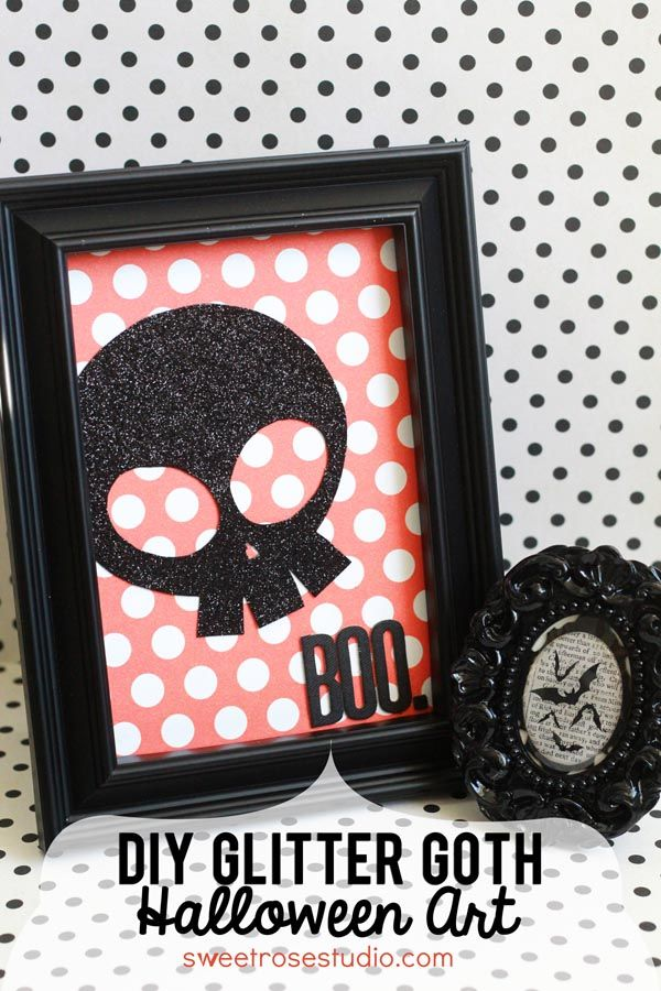 DIY Glitter Goth Halloween Art