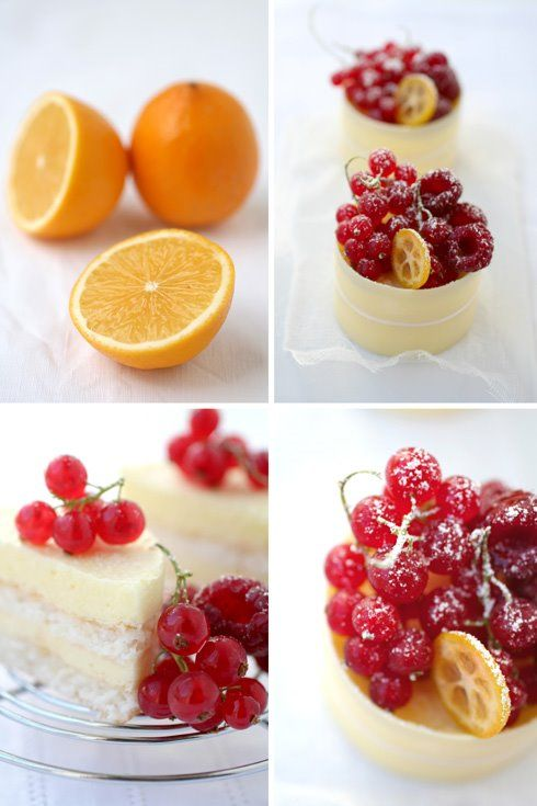 small cakes with layers of coconut dacquoise, meyer lemon chiboust ...