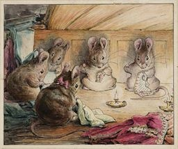 Beatrice Potter.  Mice sewing.