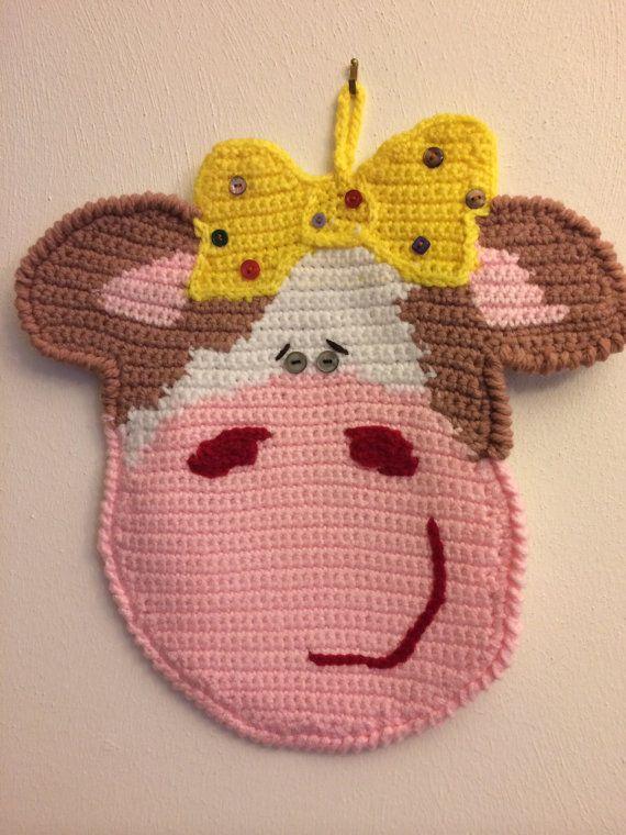 Funny Cow Crocheted Potholder Hand Made Viktoriyasshop Etsy