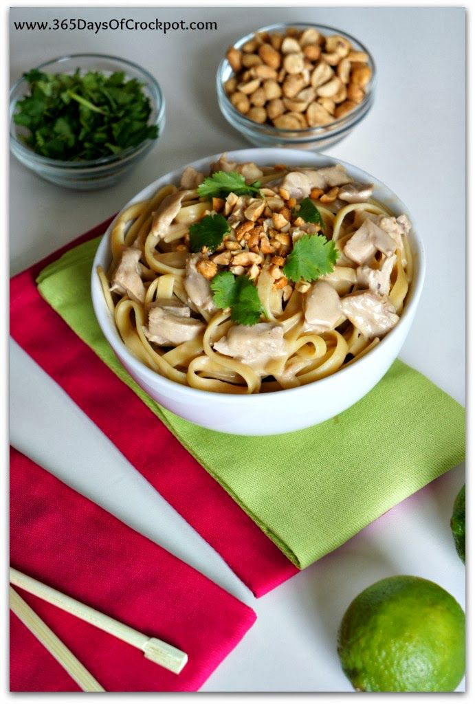 Slow Cooker Recipe for Peanut Sauce with Chicken and Fettuccine # ...