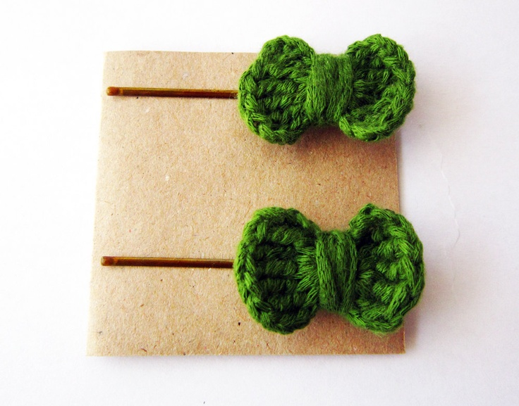 Crochet Hair Bows : Crochet hair bows, baby hair bows, hair bow bobby pins, crochet hairb ...