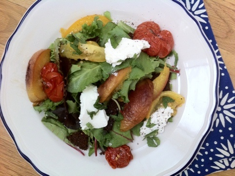 roasted peach, tomato, and ricotta salad.