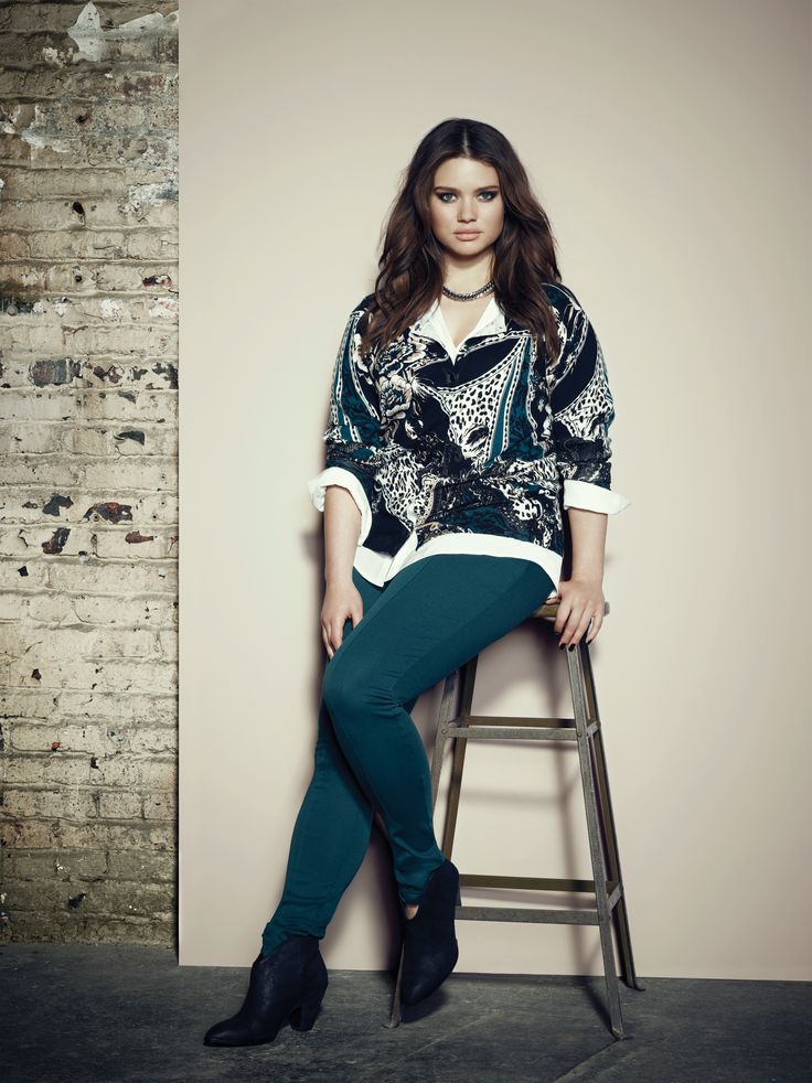 Addition Elle plus size premium essential print cardigan with premium essential tunic and premium essential knit pant.