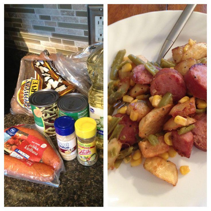 Kelbasa stir fry: Polska sausage, green beans, corn, mrs dash ...