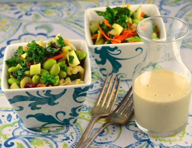 Raw Kale Salad With Creamy Tahini Dressing Recipe — Dishmaps