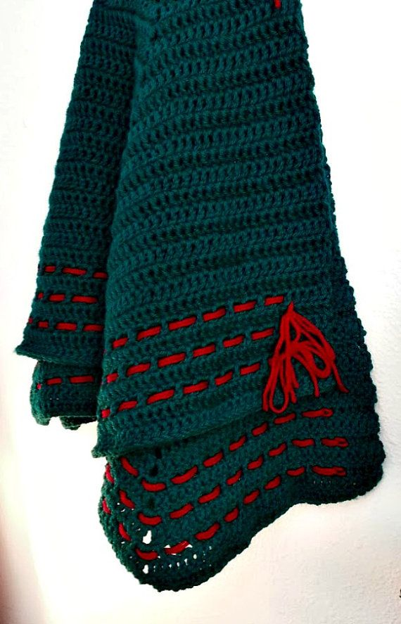Crochet Xmas Tree Skirt : Handmade green crocheted Christmas tree skirt with by Highway89, $40 ...