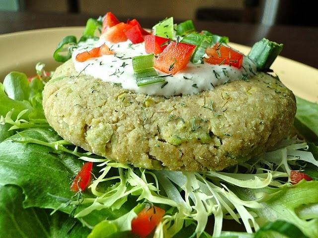 Chickpea-Edamame Burgers with Tahini-Dill Sauce (Vegan, GF)