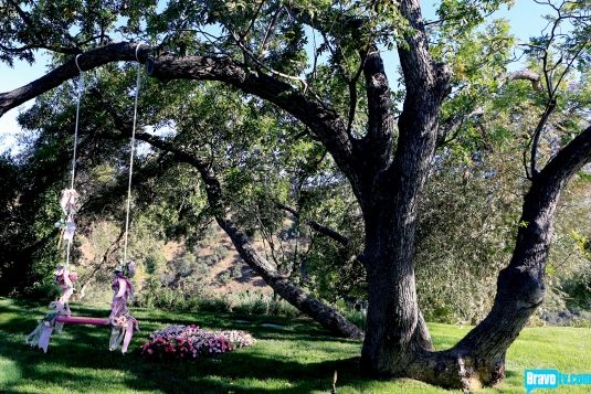 Lisa Vanderpump's flower covered swing and heart shaped flower bed.  A surprise gift from husband Ken.