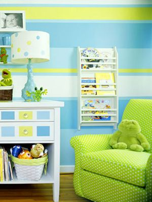 Blue, green, and yellow nursery.