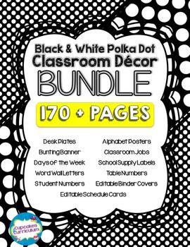 Black white polka dot classroom decor bundle for Black and white polka dot decorations
