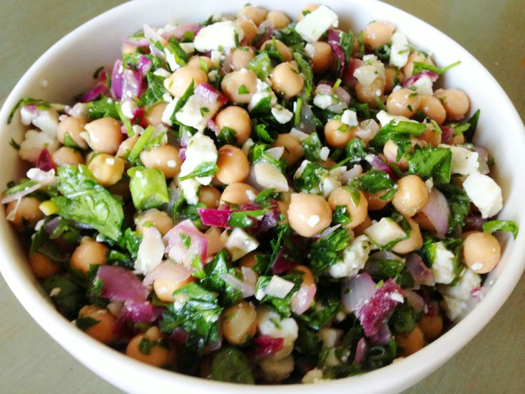 Chickpea and feta salad with herbs | Sides, sides, everywhere thers's ...