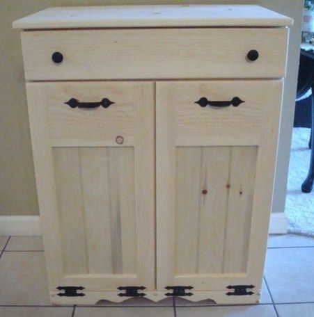 NEW UNFINISHED Handcrafted Wooden Trash/Recycle Bin Pet Food Double