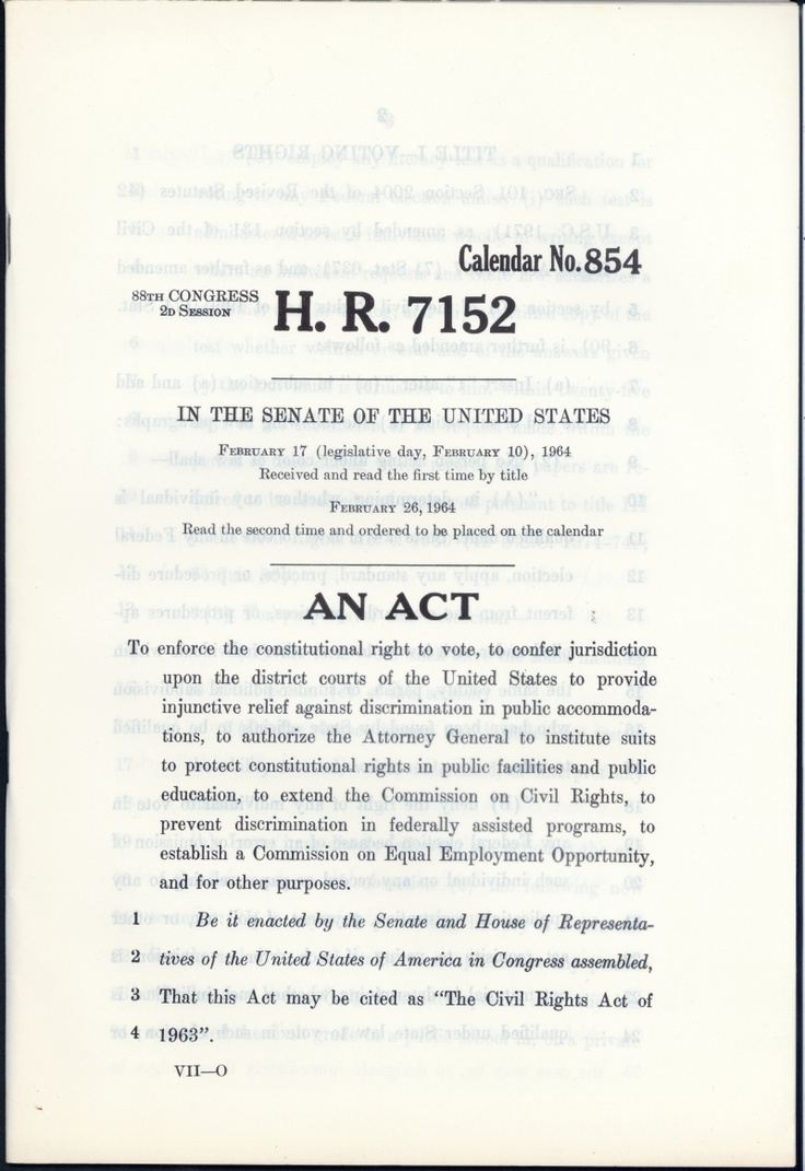 civil rights act of 1964 essay The civil rights act of 1964 [name] [course] [tutor] [college] [date] civil rights act passed in 1964 helped a lot in preventing discrimination to virtually all.