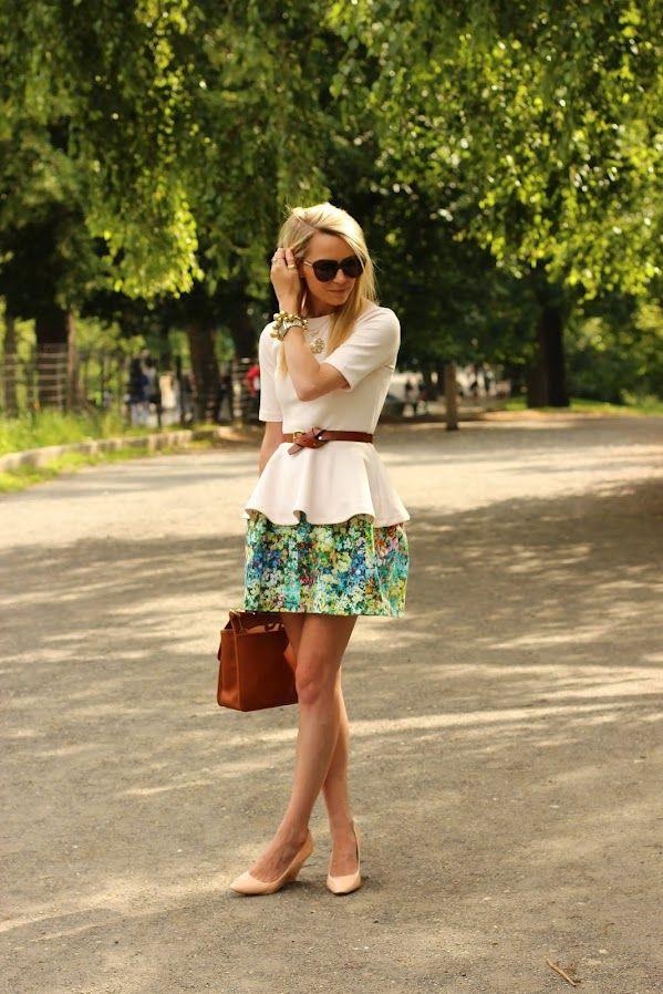 Flower Skirt + Simple Beige Top + Browns...