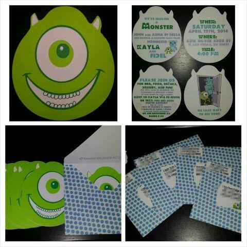 monsters inc baby shower invitation michael abel pinterest