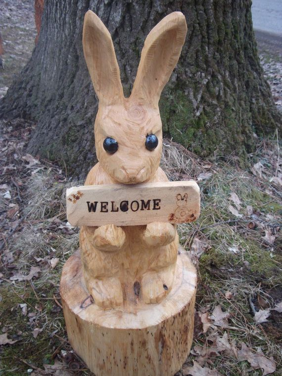 Chainsaw carved bunny