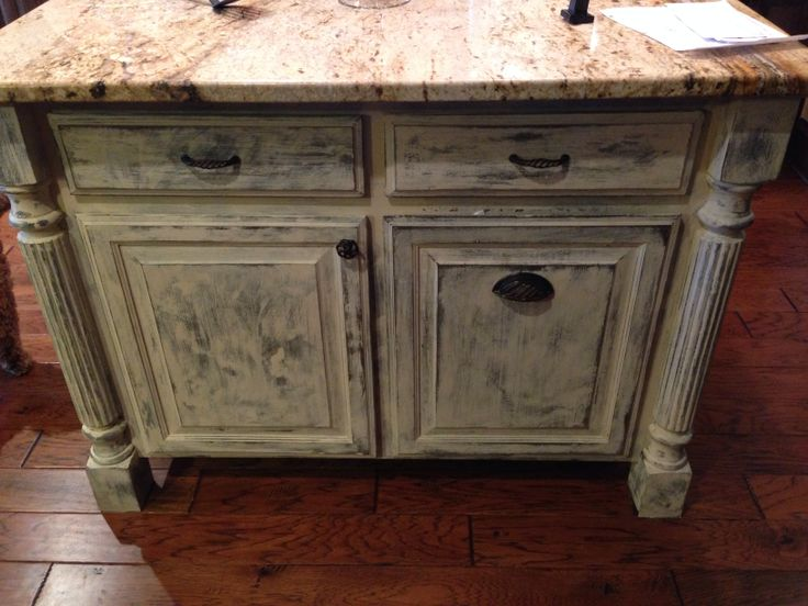 My kitchen island redo  Annie Sloan chalk paint  old ochre