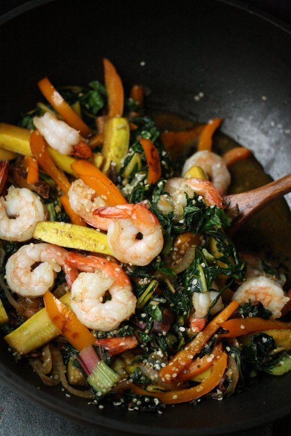 Sesame Shrimp Stir Fry Recipe with Summer Vegetables | Easy, Healthy