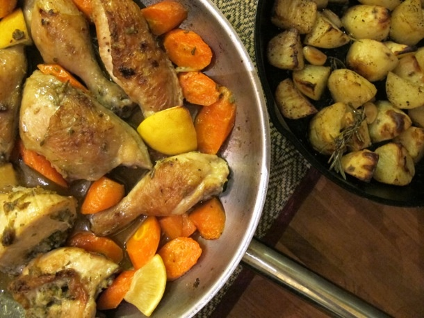 Lemon-Rosemary Roasted Chicken with Crispy Potatoes