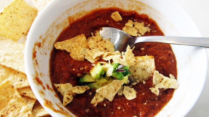 Chili Soup (Kidney Bean Soup w/ Guacamole)